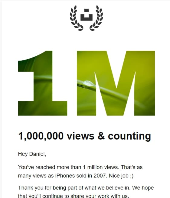 1 million views on Unsplash